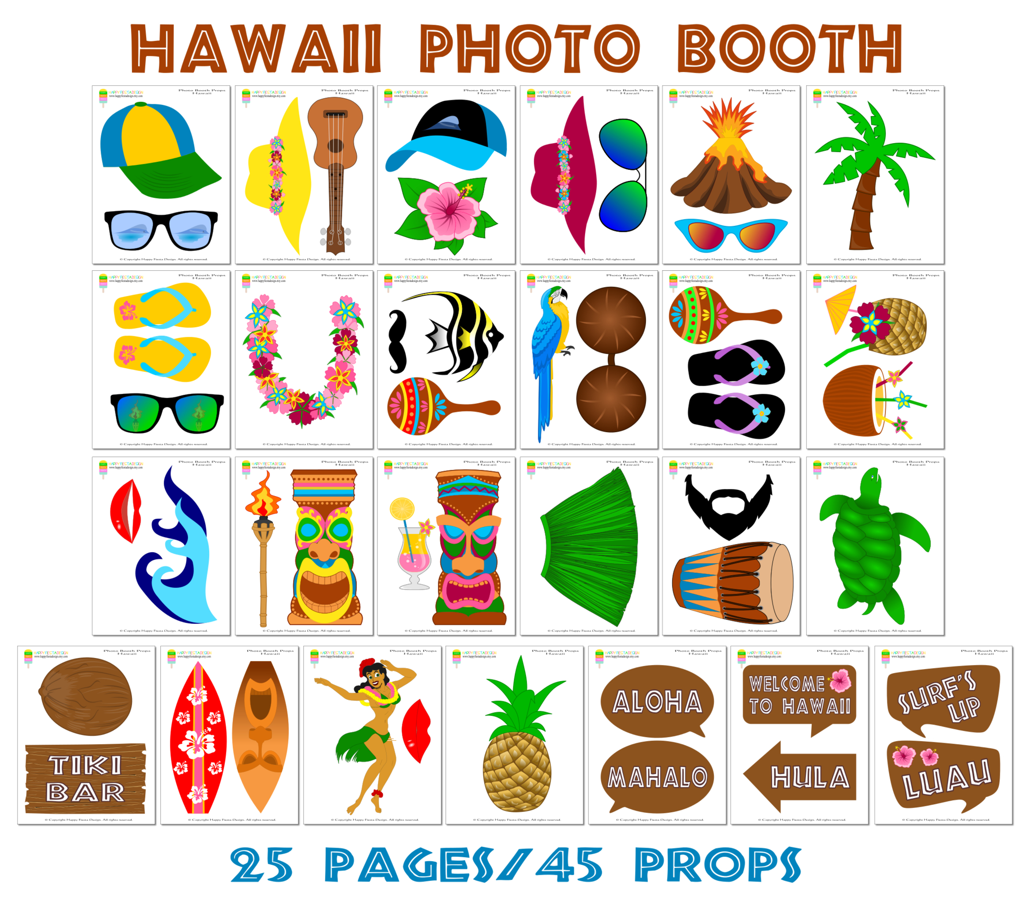 Printable Hawaii Photo Booth Props/ Luau Party Photo Props - Hawaiian Photo Booth Props Printable Free