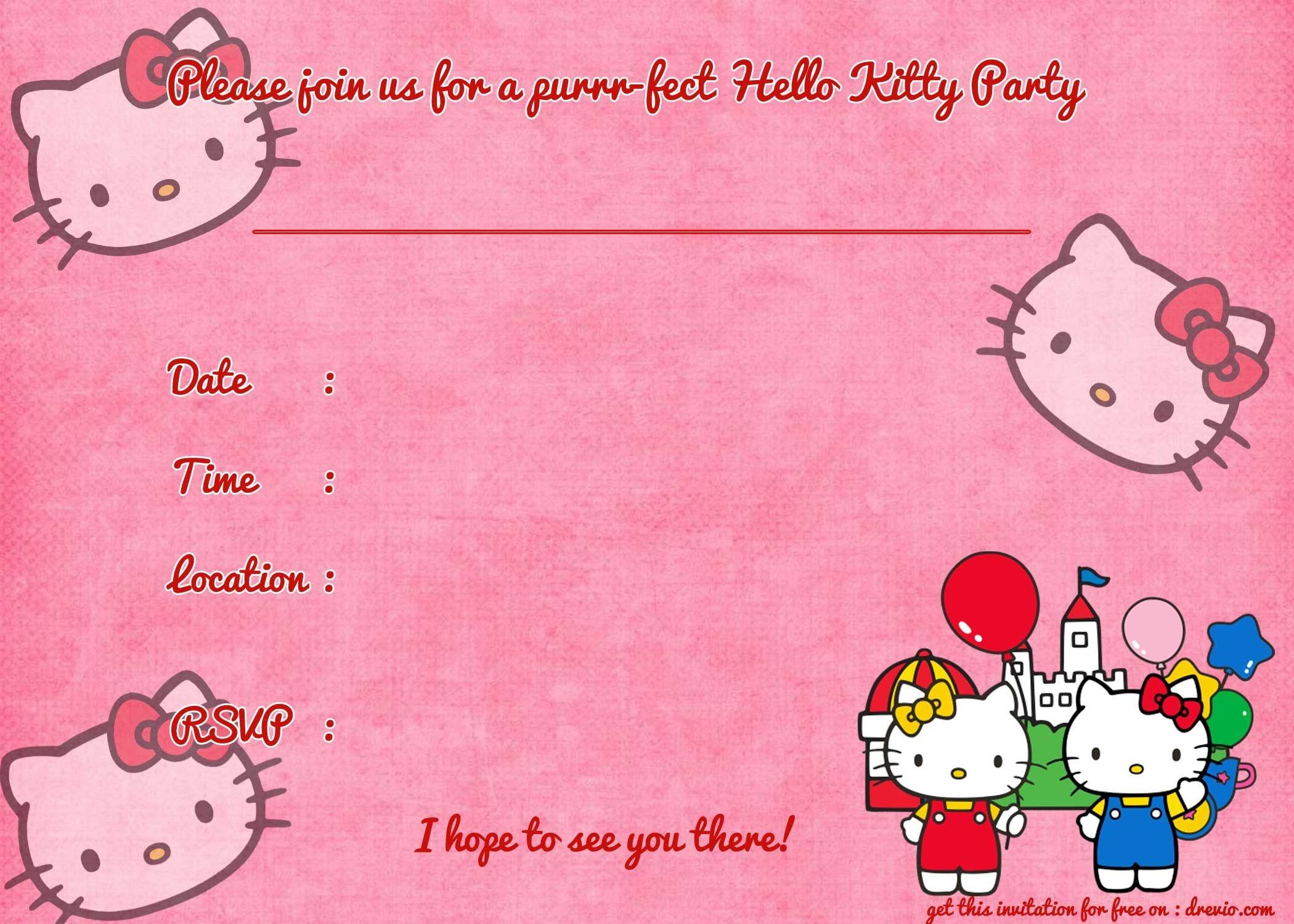 Printable Hello Kitty Birthday Invitation Template | Party | Hello - Free Printable Hello Kitty Baby Shower Invitations