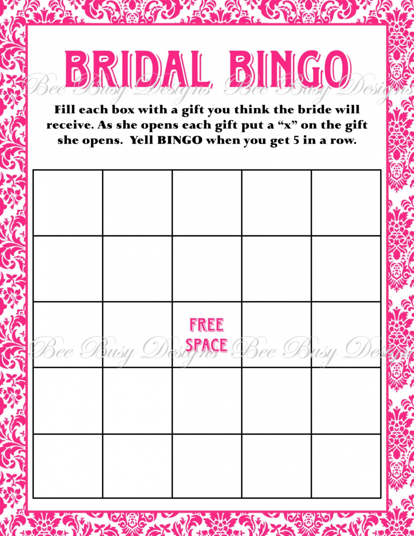 Printable Hot Pink Damask Bridal Shower Bingo Game Instant Download - Free Printable Bridal Shower Blank Bingo Games