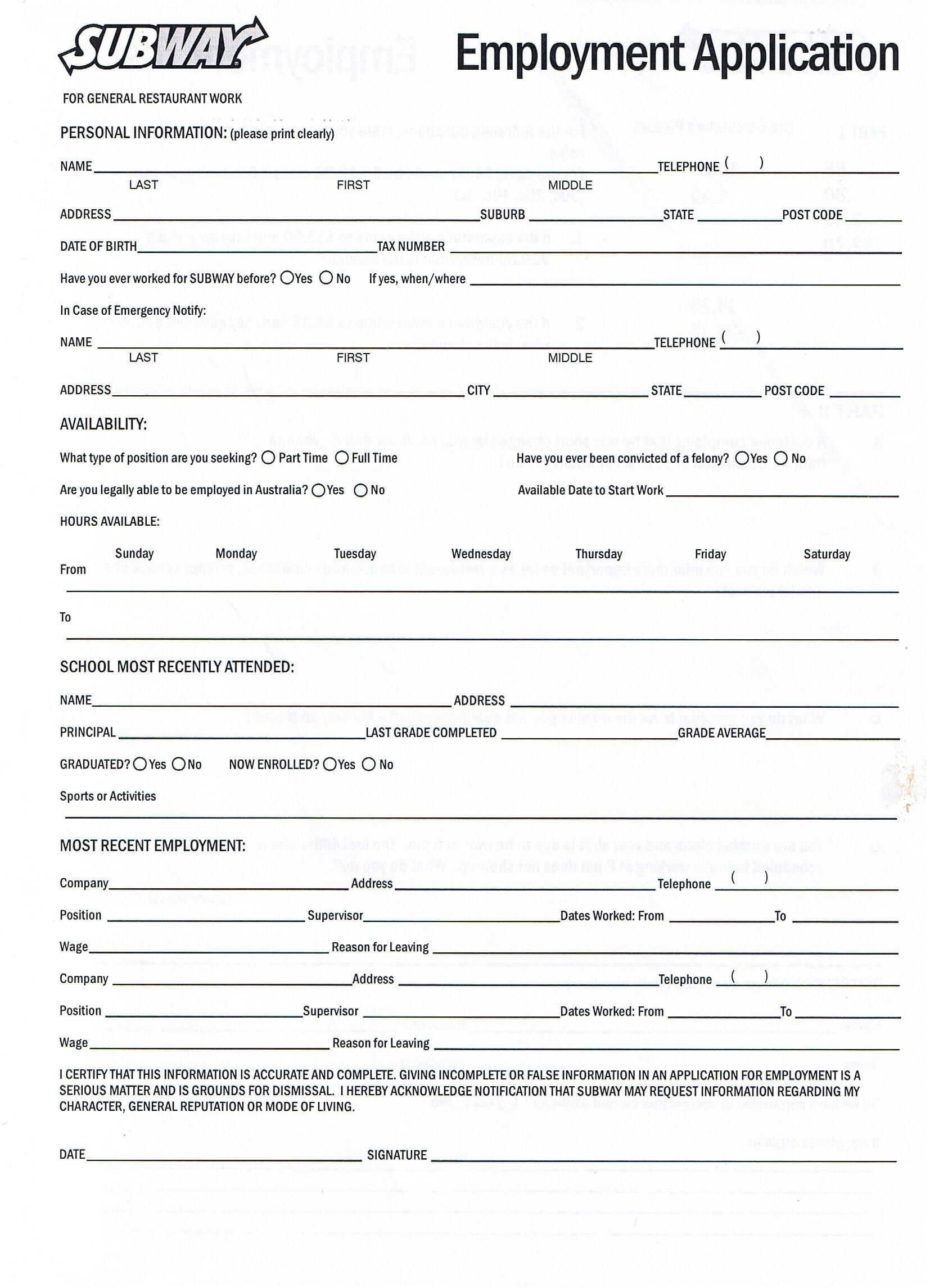 Printable Job Application Forms Online Forms, Download And Print - Free Printable Job Application Template
