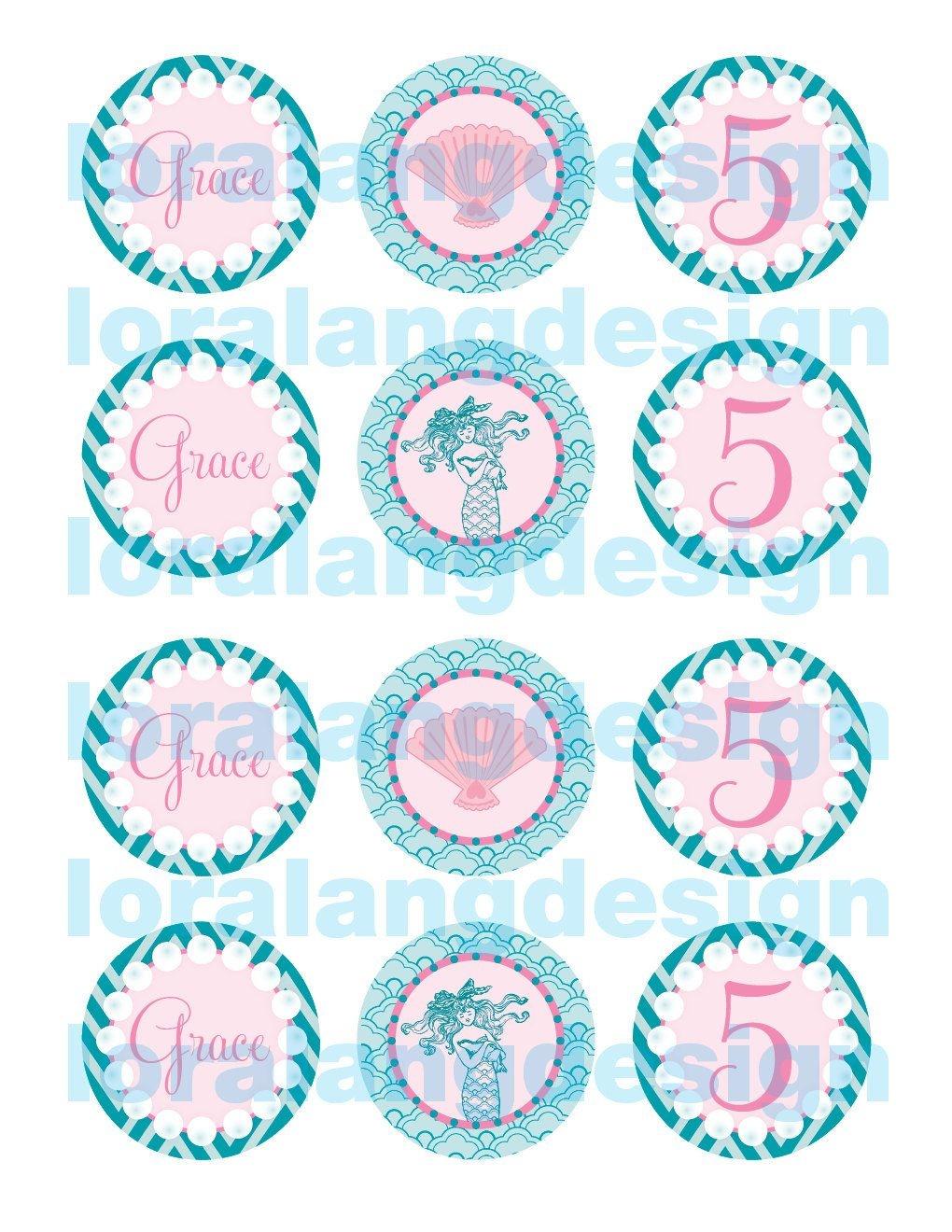Printable Mermaid Cupcake Toppers Favors | Eg's 4Th Birthday - Free Printable Mermaid Cupcake Toppers