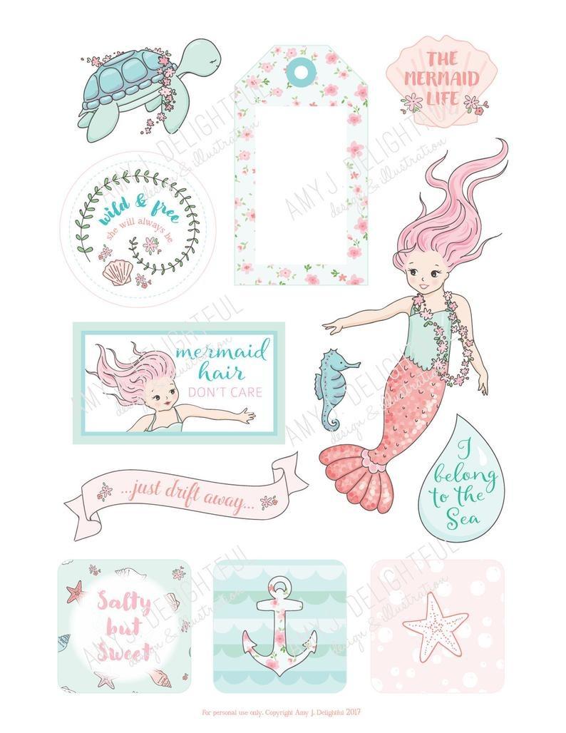 Printable Mermaid Planner Die Cuts Digital File Instant | Etsy - Scrapbooking Die Cuts Free Printable