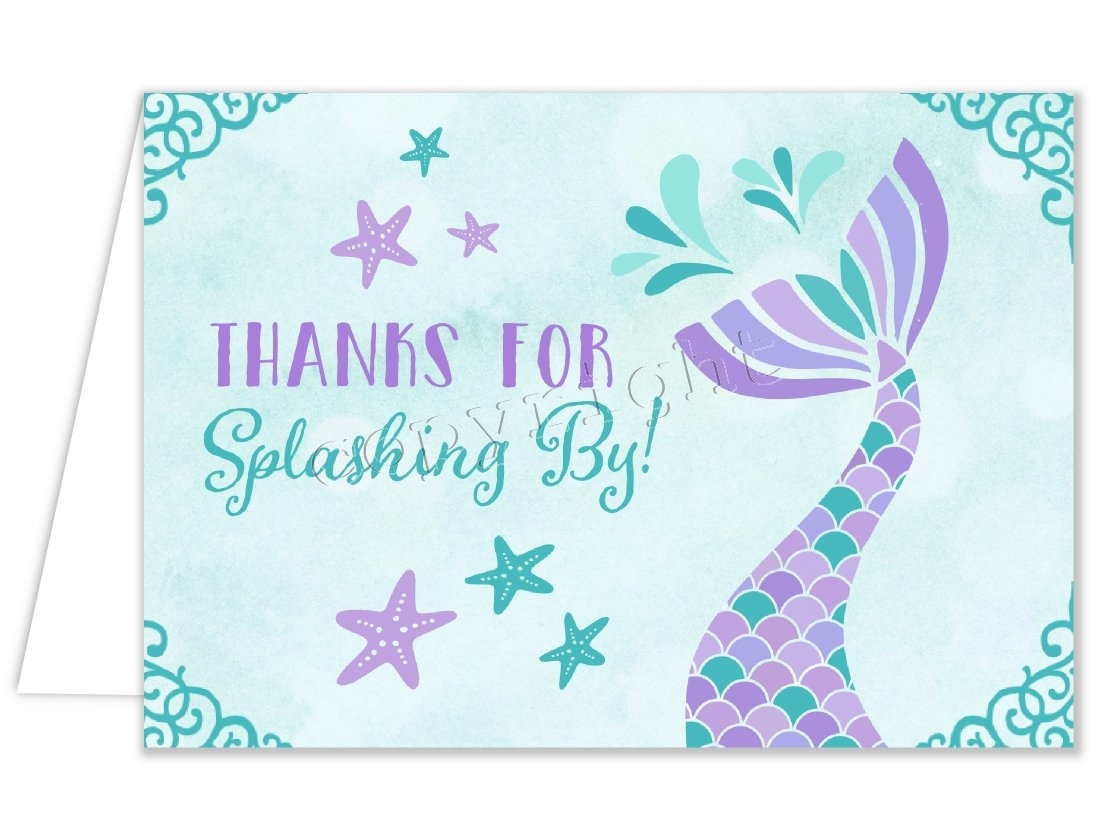 Printable Mermaid Thank You Card For Girl Birthday Party W/matching - Free Printable Mermaid Thank You Cards