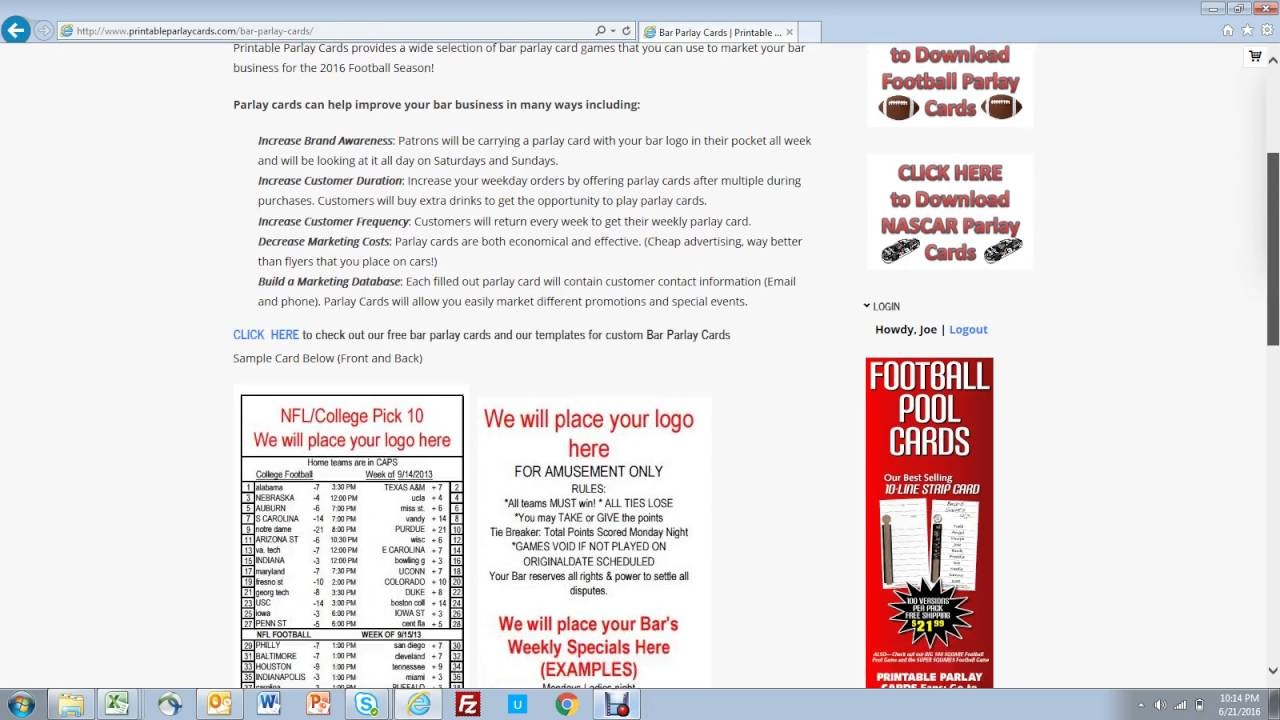 Printable Parlay Cards - Free Printable Football Parlay Cards
