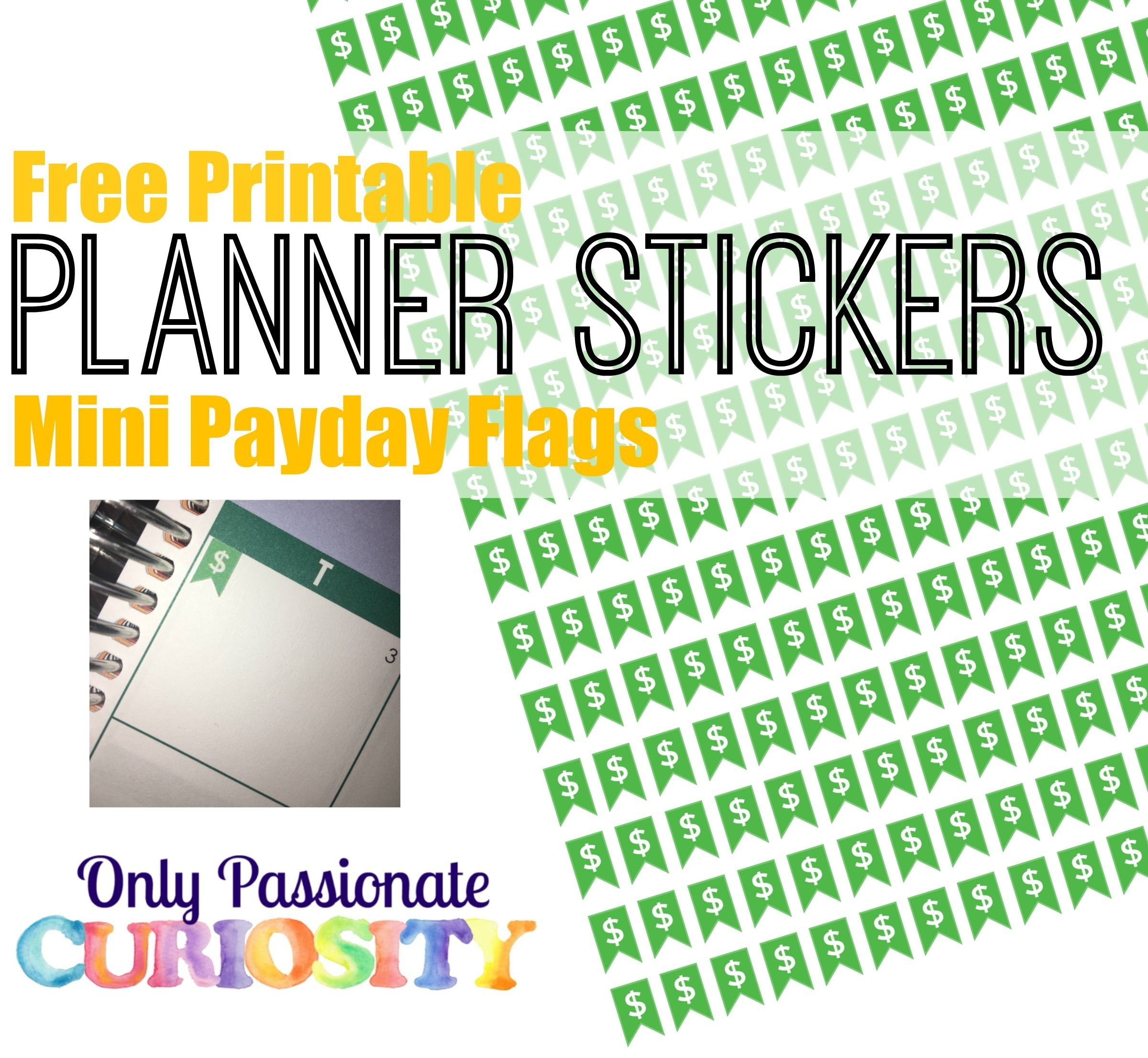 Printable Payday Flag Planner Stickers | Free Planner Stickers | How - Free Printable Keyboard Stickers