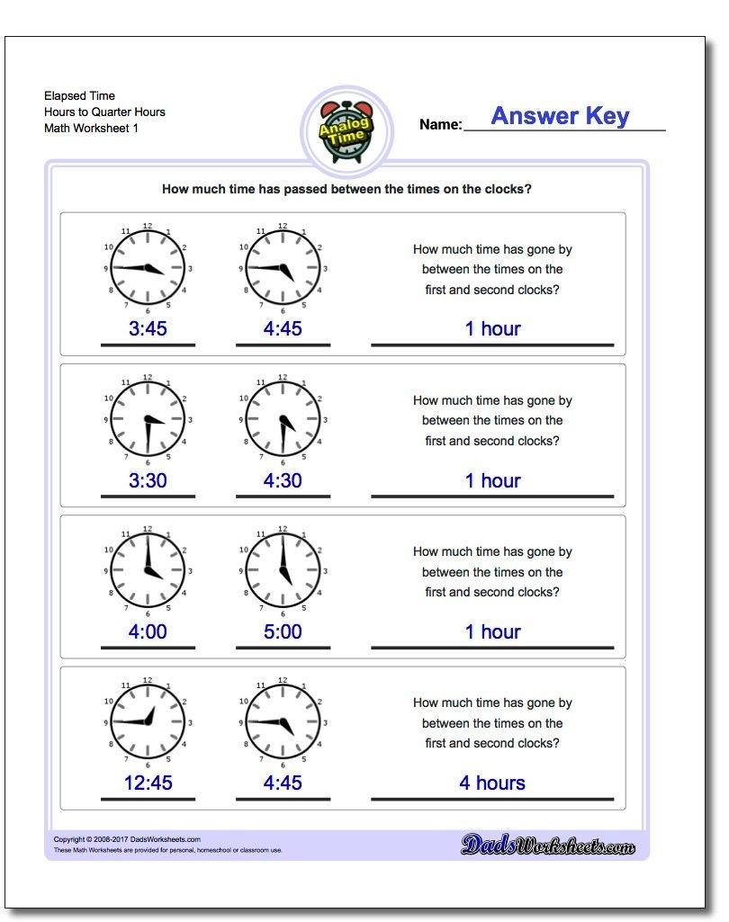 Printable Pdf Analog Elapsed Time Worksheets   Math Worksheets - Elapsed Time Worksheets Free Printable