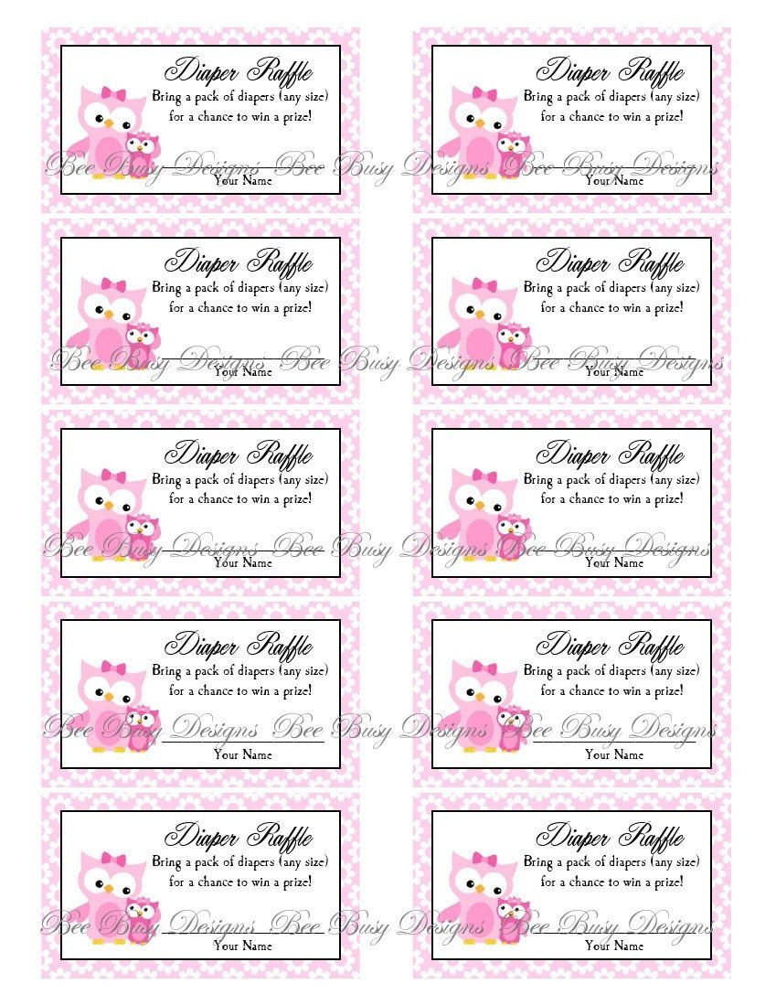 Printable Pink Mom With Little Girl Owl Diaper Raffle Tickets | Free - Free Printable Bridal Shower Raffle Tickets