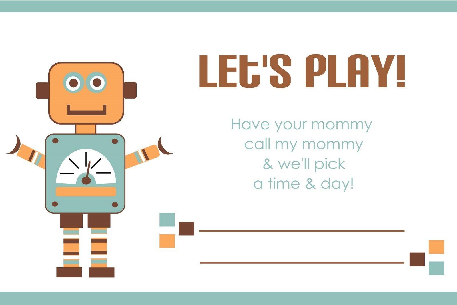 Printable Play Date Card | Printables | Kids Cards, Fun Projects For - Free Printable Play Date Cards