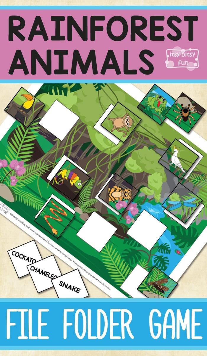 Printable Rainforest Animals File Folder Game - Itsy Bitsy Fun - Free Printable File Folder Games