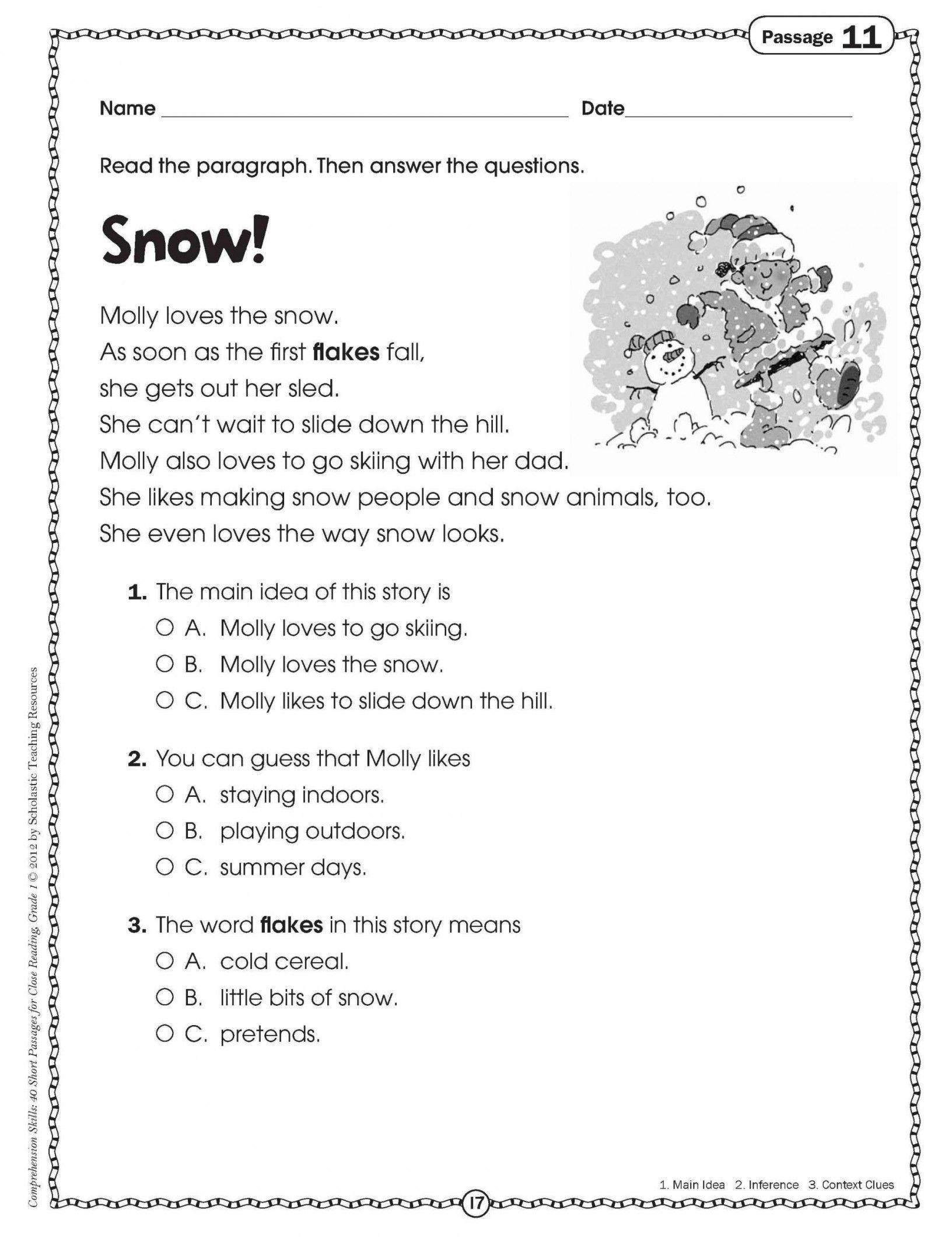 Printable Reading Comprehension Worksheets For Reading Worksheets - Free Printable Grade 1 Reading Comprehension Worksheets