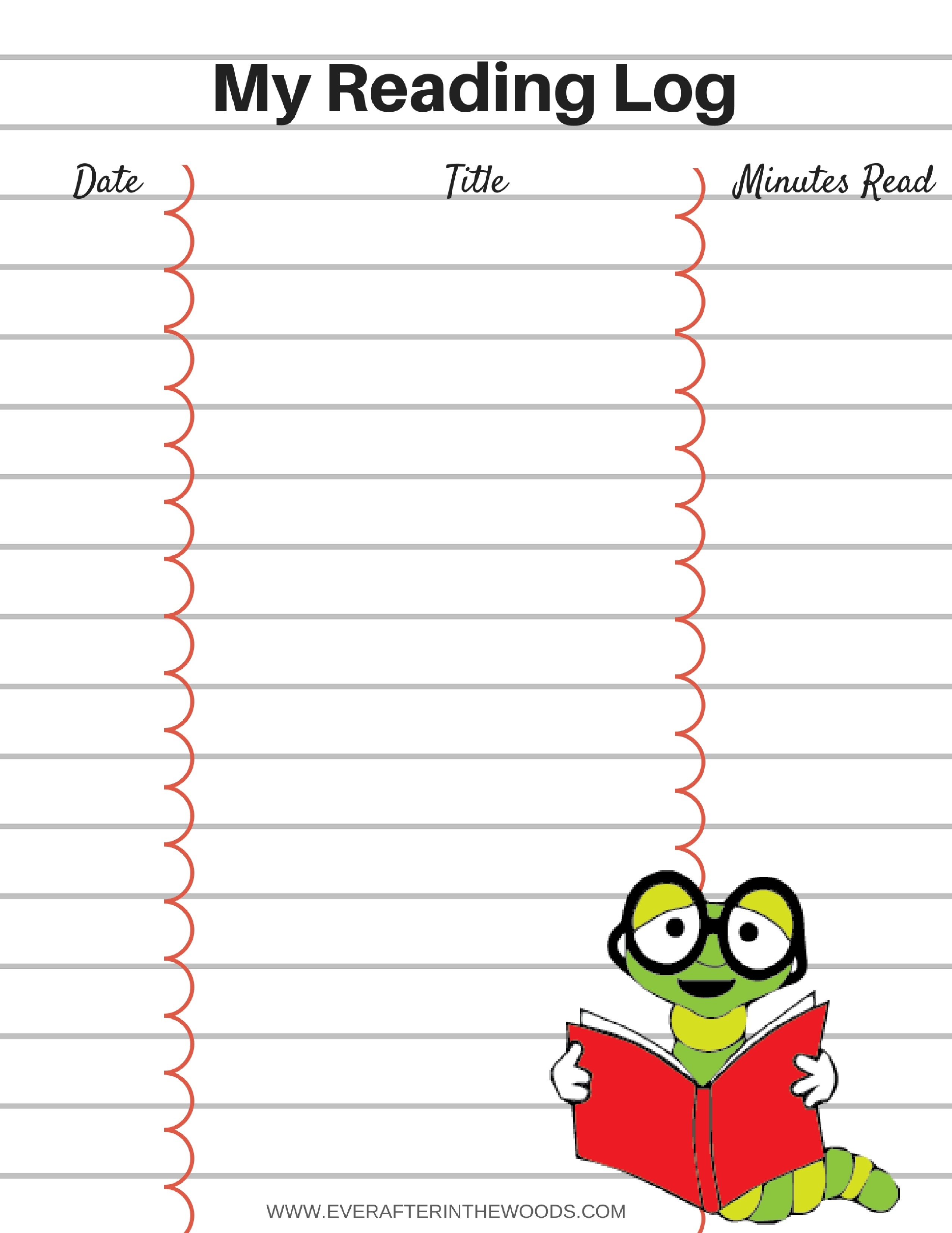 Printable Reading Log For Your Children - Ever After In The Woods - Free Printable Reading Logs For Children