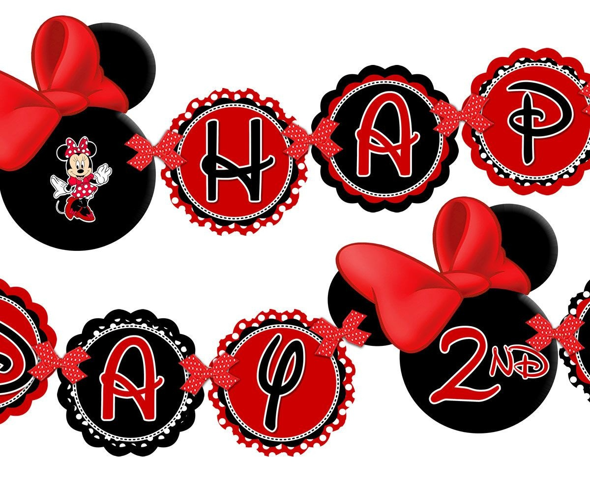 Printable Red Minnie Mouse Happy Birthday Banner, Minnie Mouse Red - Free Printable Mickey Mouse Birthday Banner