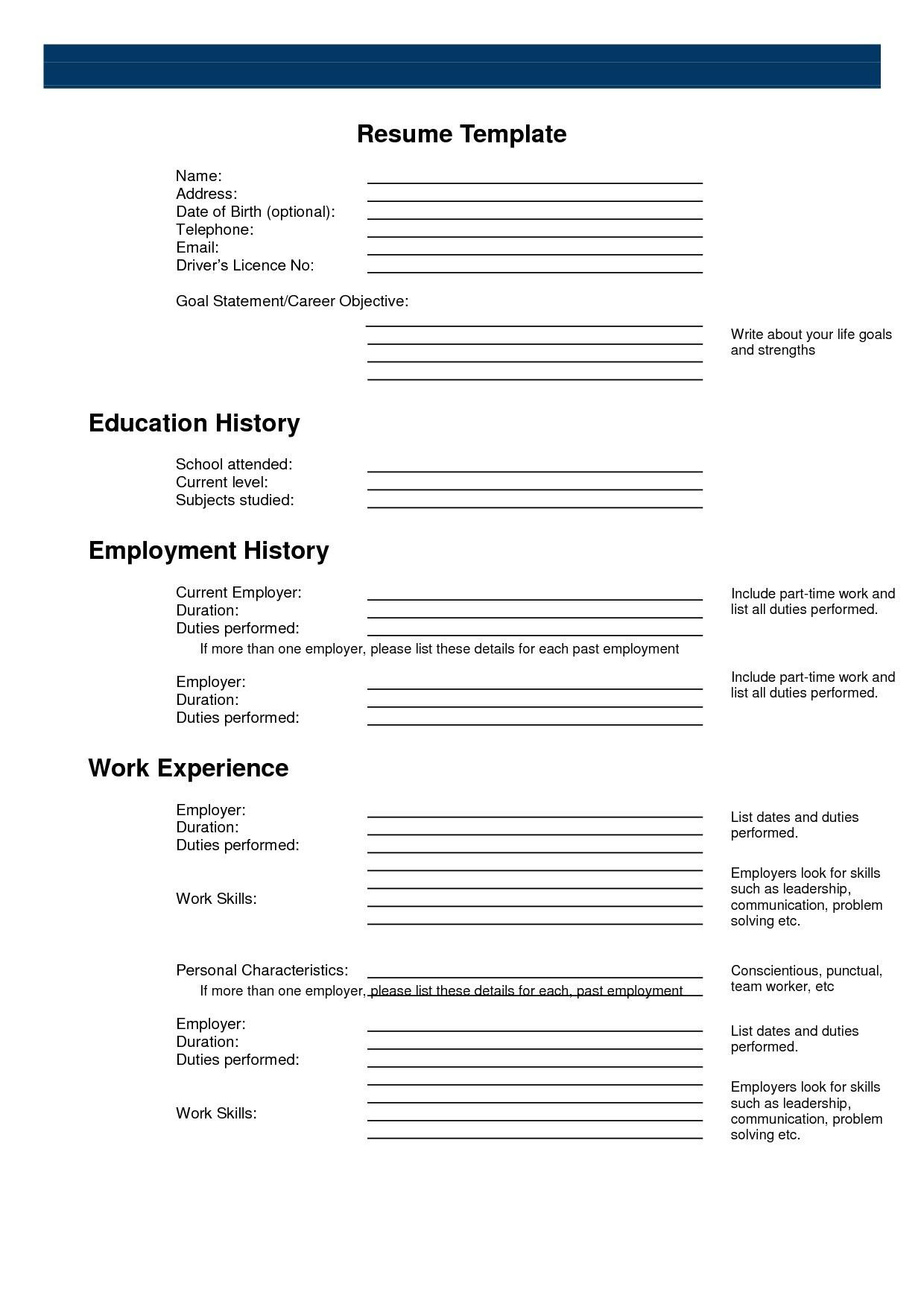 Printable Resume Form Surprising Inspiration Templates 2 Sample - Free Printable Resume Templates