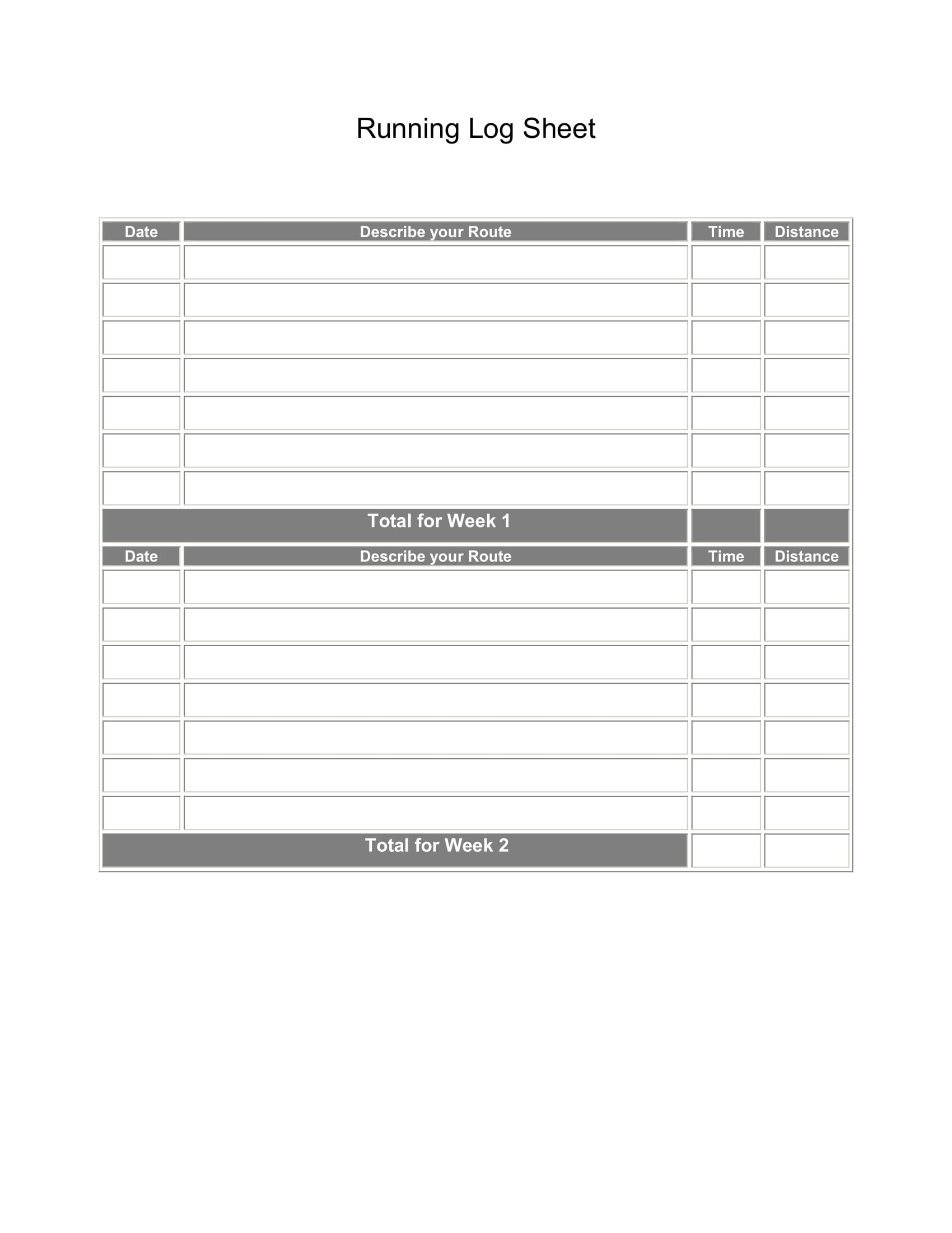 Printable Running Log Sheets - Free Printable Running Log