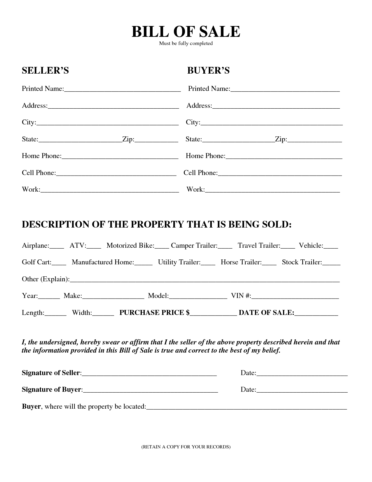 Printable Sample Equipment Bill Of Sale Template Form | Laywers - Free Printable Mobile Home Bill Of Sale