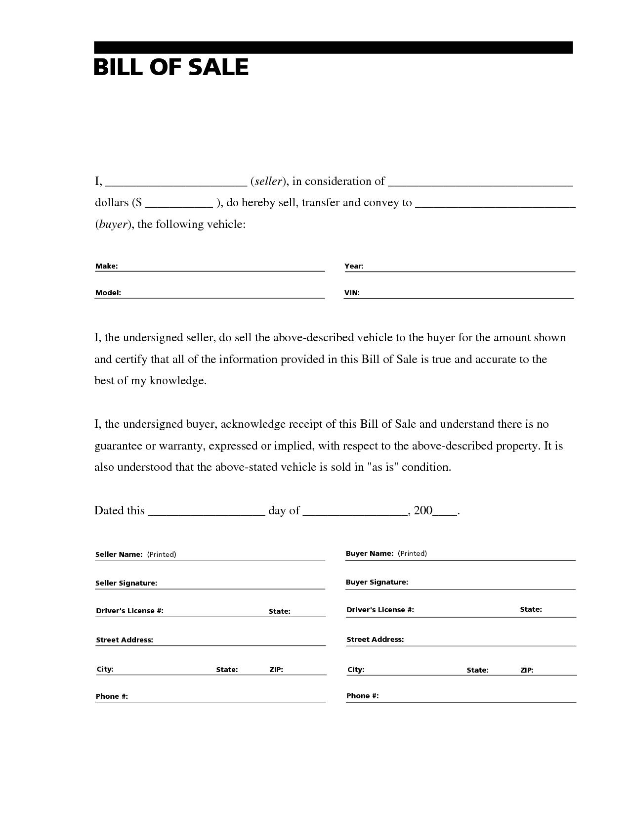 Printable Sample Free Car Bill Of Sale Template Form   Laywers - Free Printable Bill Of Sale For Car