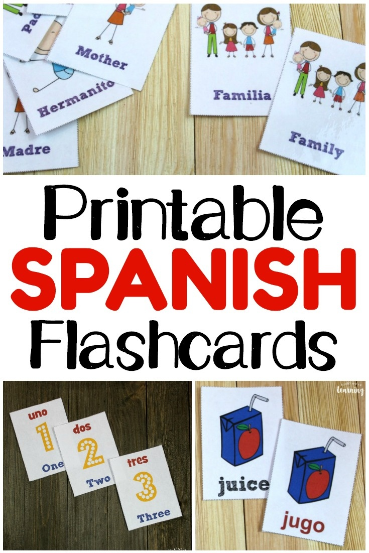 Printable Spanish Flashcards - Look! We're Learning! - Free Printable Spanish Alphabet Worksheets