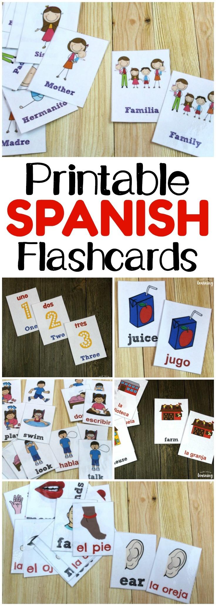 Printable Spanish Flashcards - Look! We're Learning! - Free Printable Spanish Verb Flashcards