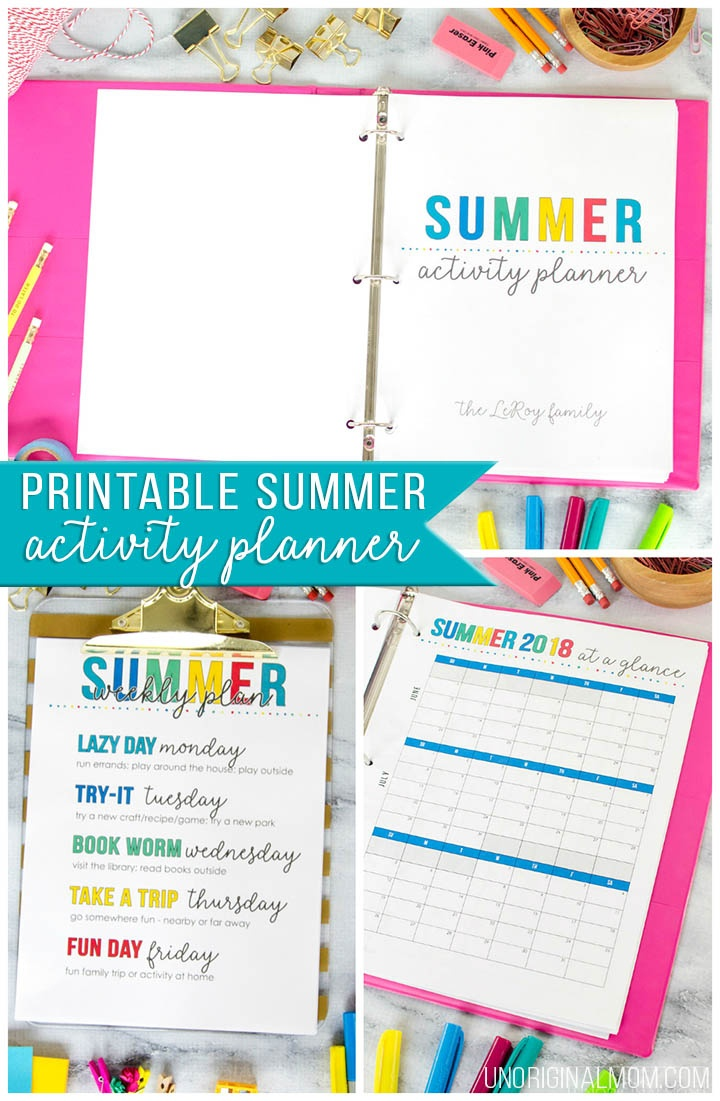 Printable Summer Planner + Free Summer Calendar - Unoriginal Mom - Free Printable Summer Pictures