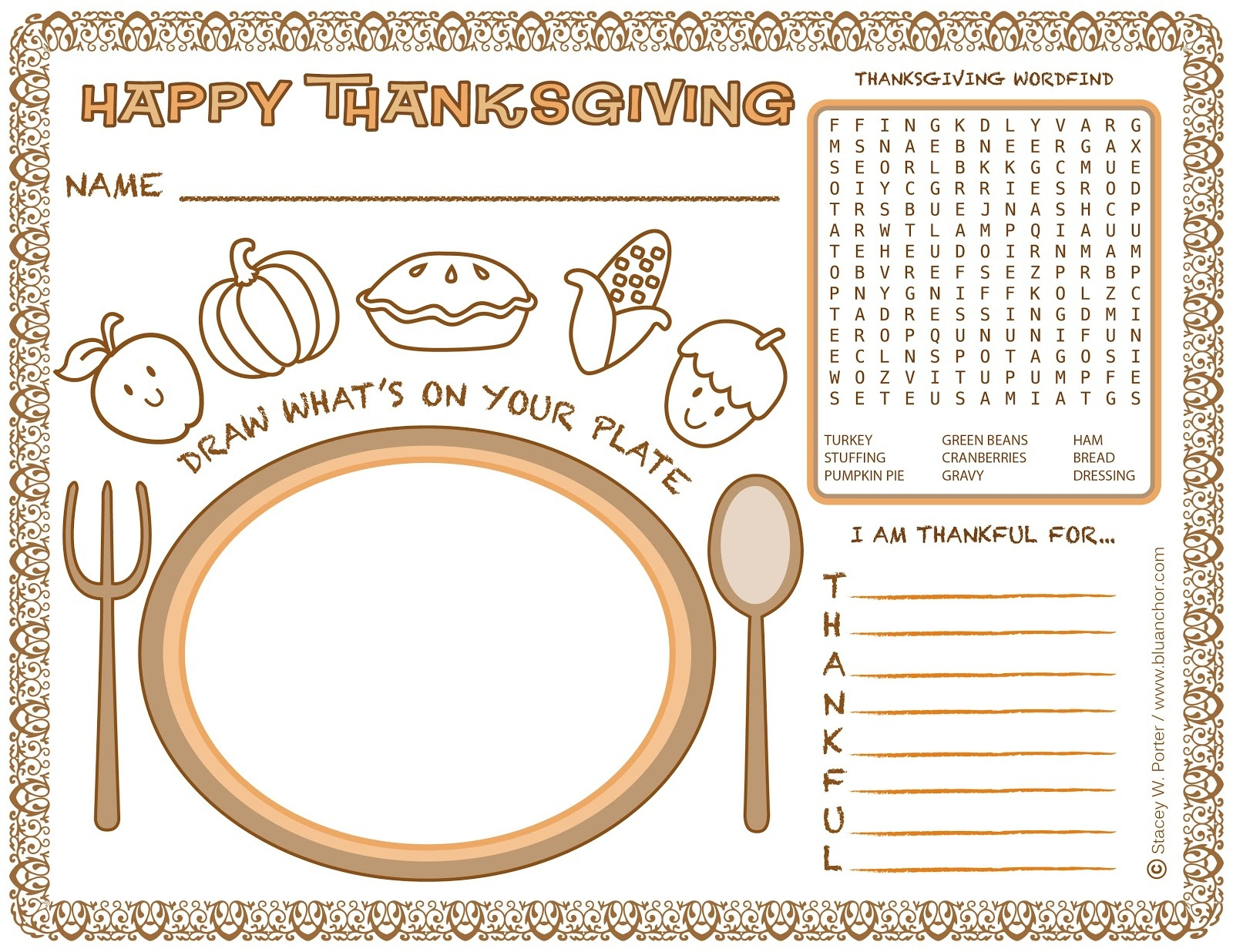 Printable Thanksgiving Placemats For Coloring – Happy Easter - Free Printable Thanksgiving Coloring Placemats