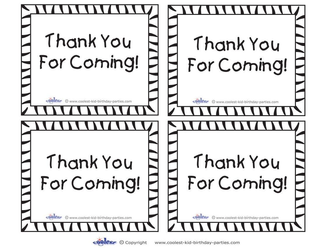 Printable Tigger Thank You Cards - Thank You For Coming Free Printable Tags