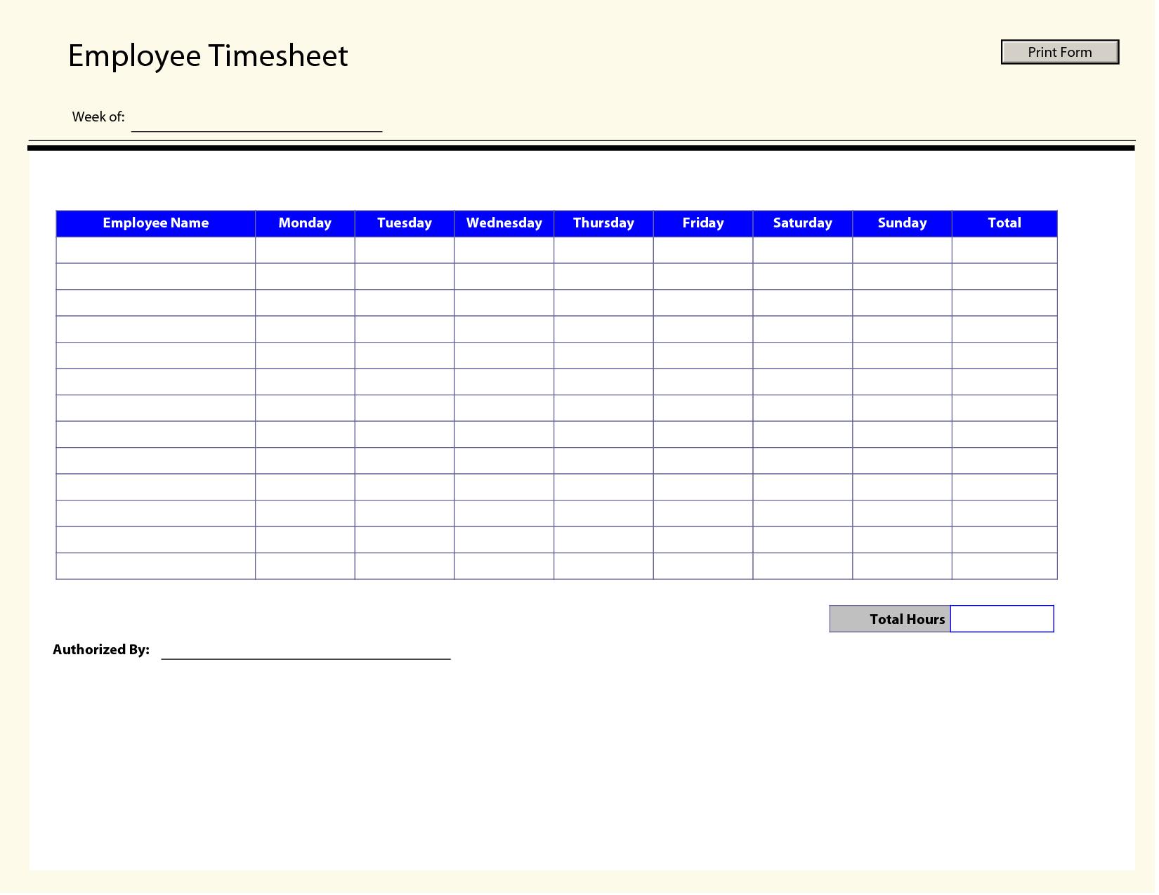 Printable Time Sheets | Free Printable Employee Timesheets Employee - Free Printable Time Sheets Forms