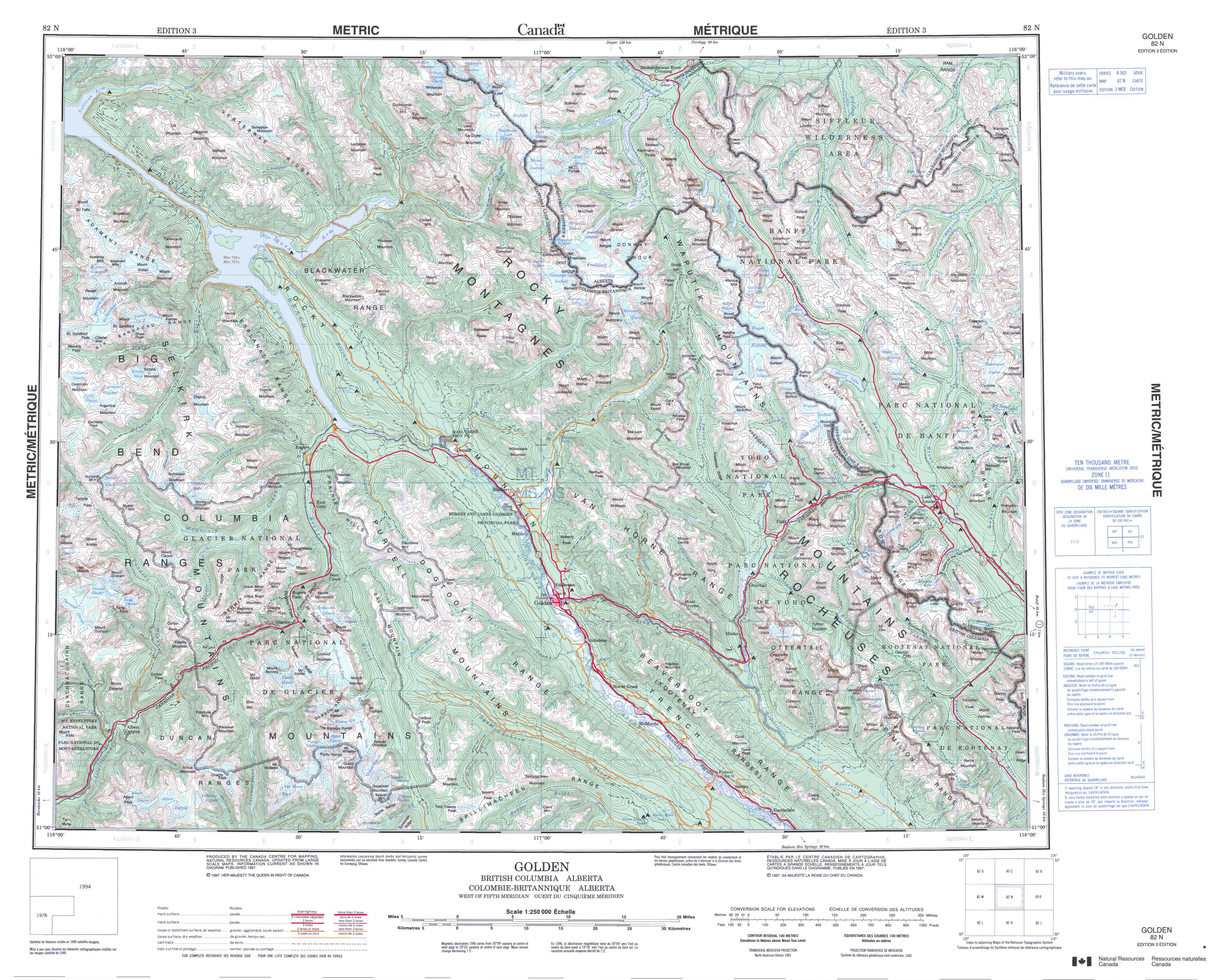Printable Topographic Map Of Golden 082N, Ab - Free Printable Topo Maps