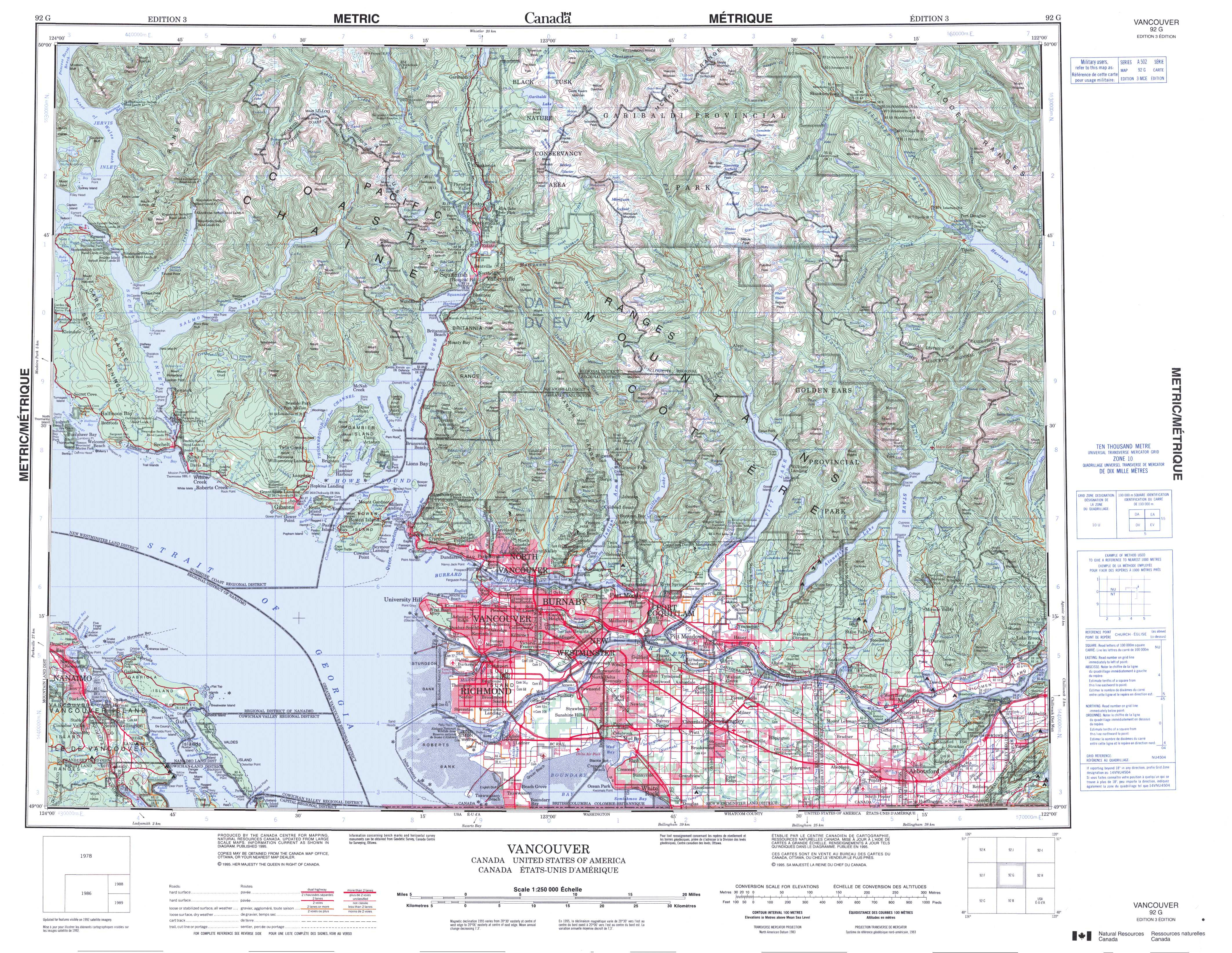 Printable Topographic Map Of Vancouver 092G, Bc - Free Printable Topo Maps