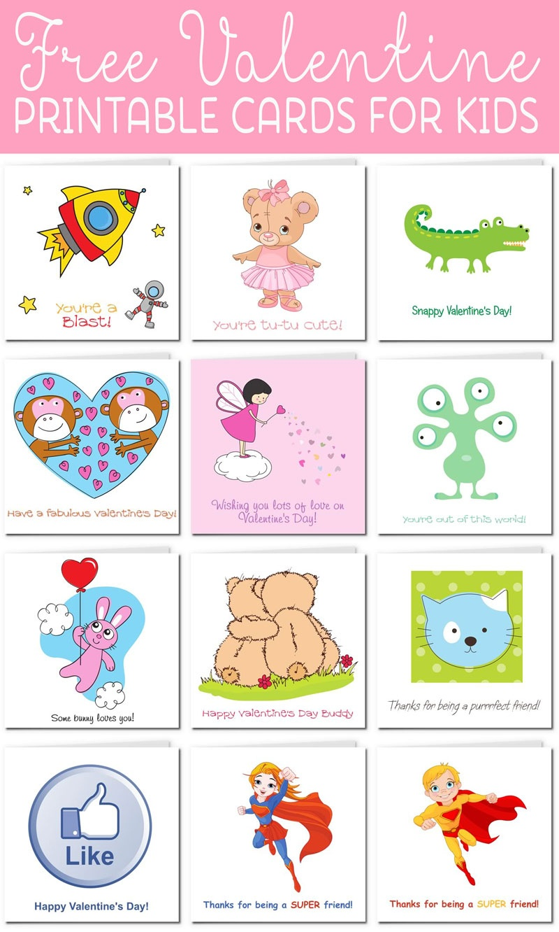 Printable Valentine Cards For Kids - Free Printable Childrens Valentines Day Cards