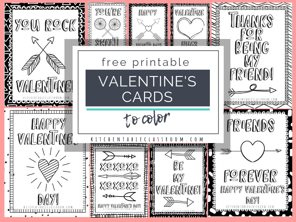 Printable Valentine Cards To Color - The Kitchen Table Classroom - Valentine Free Printable Cards