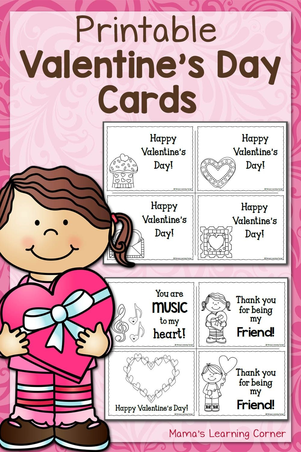 Printable Valentine's Day Cards | Best Of Mama's Learning Corner - Free Printable Childrens Valentines Day Cards
