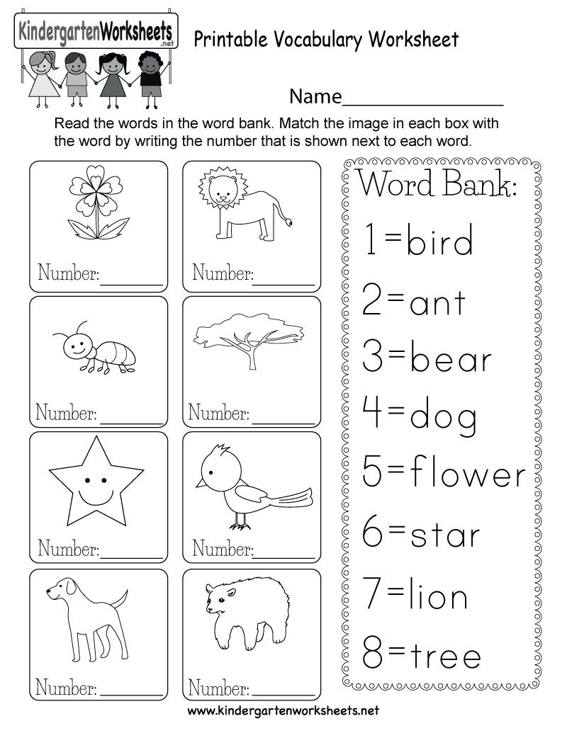 Printable Vocabulary Worksheet - Free Kindergarten English Worksheet - Free Printable Worksheets For Kids