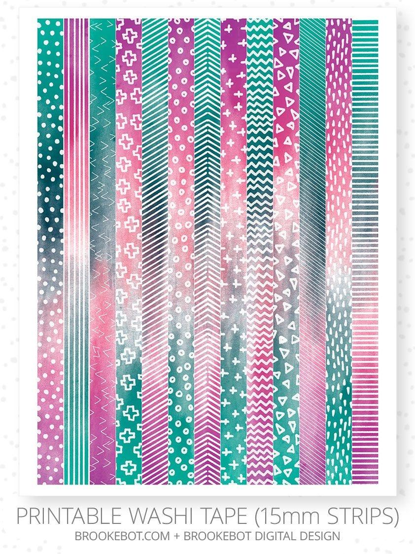 Printable Washi Tape 13 Designs On 15Mm Strips (8.5×11 Inch Pdf - Free Printable Washi Tape