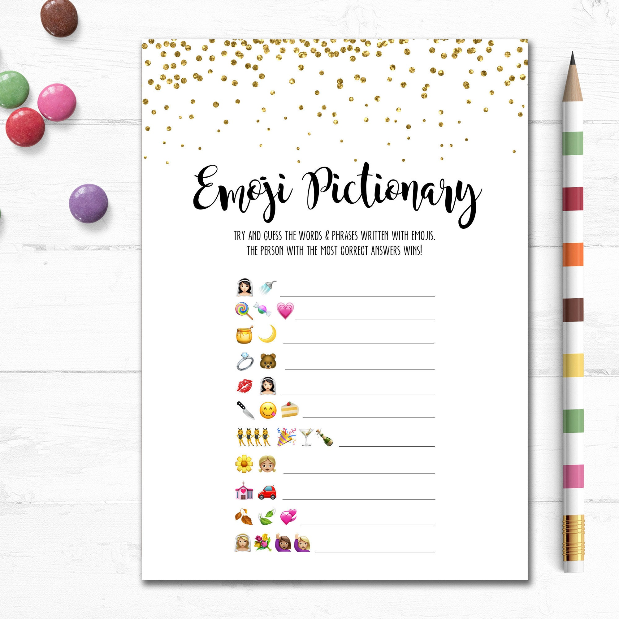 Printable Wedding Emoji Pictionary Bridal Shower Game Bridal | Etsy - Wedding Emoji Pictionary Free Printable