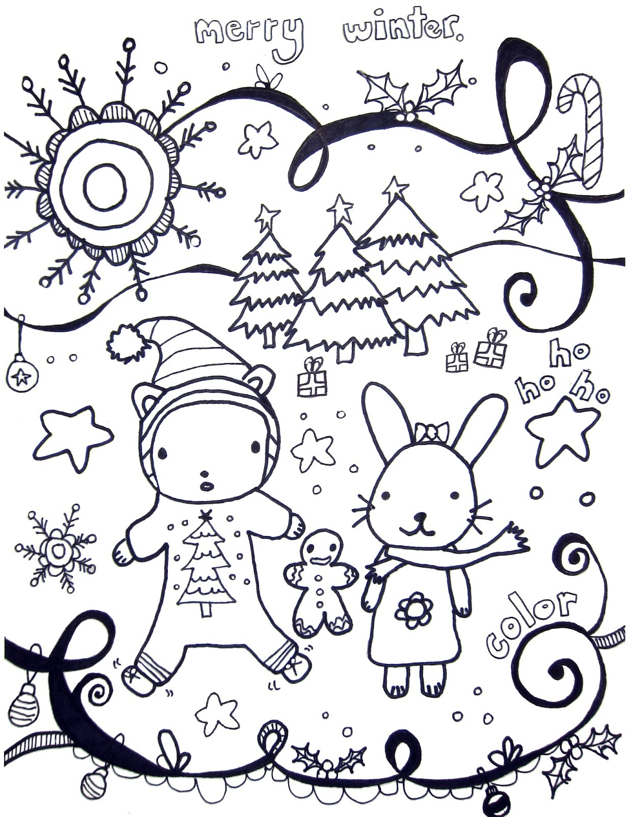 Printable Winter Coloring Pages - Marcia Beckett - Free Printable Winter Coloring Pages