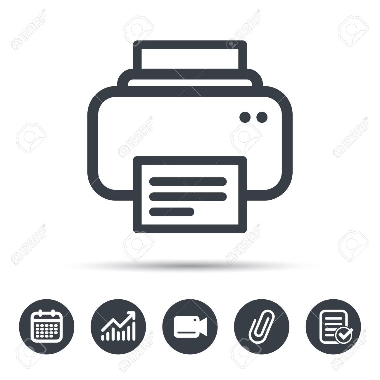 Printer Icon. Print Documents Technology Symbol. Calendar, Chart - Printable Video Surveillance Signs Free