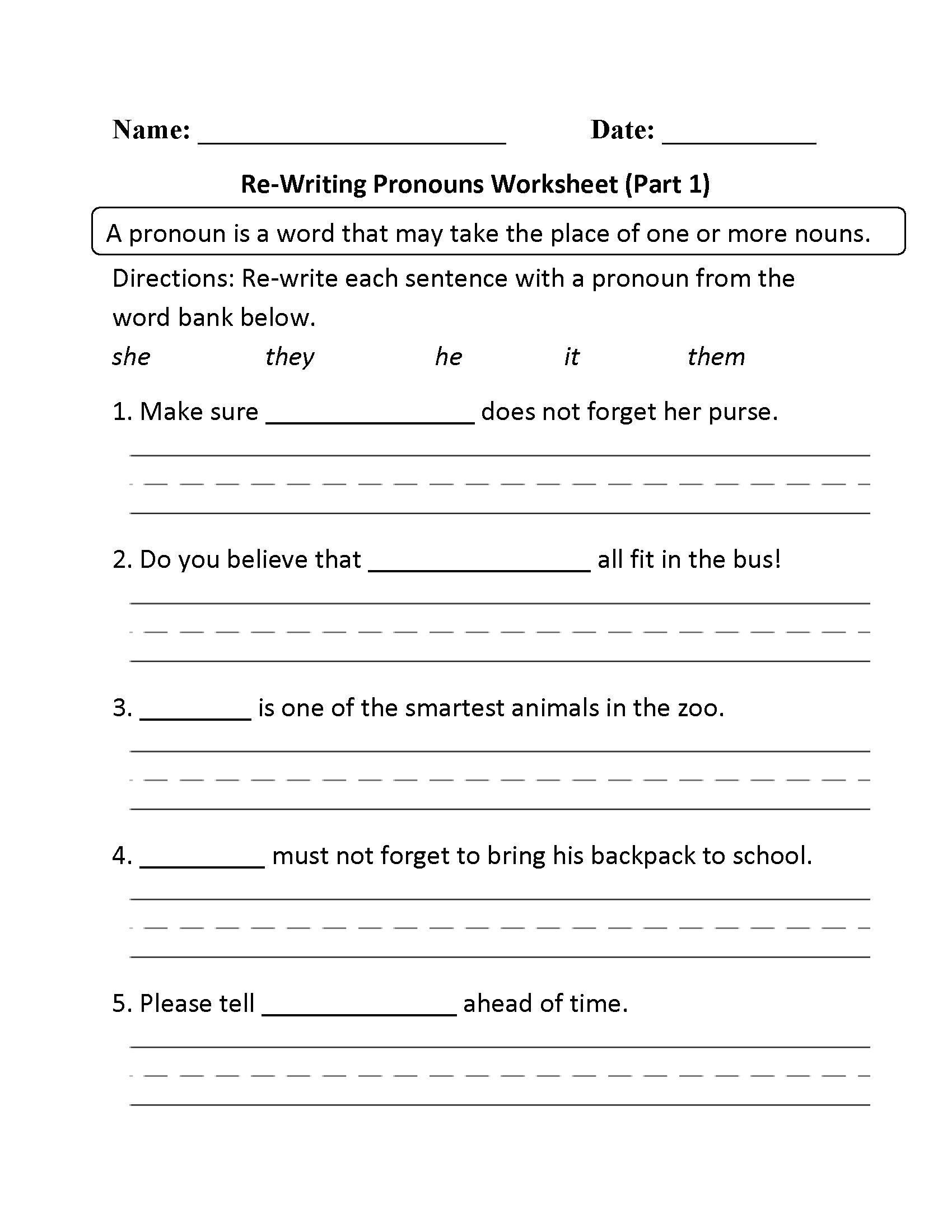 Pronouns Worksheets | Regular Pronouns Worksheets - Free Printable Pronoun Worksheets For 2Nd Grade