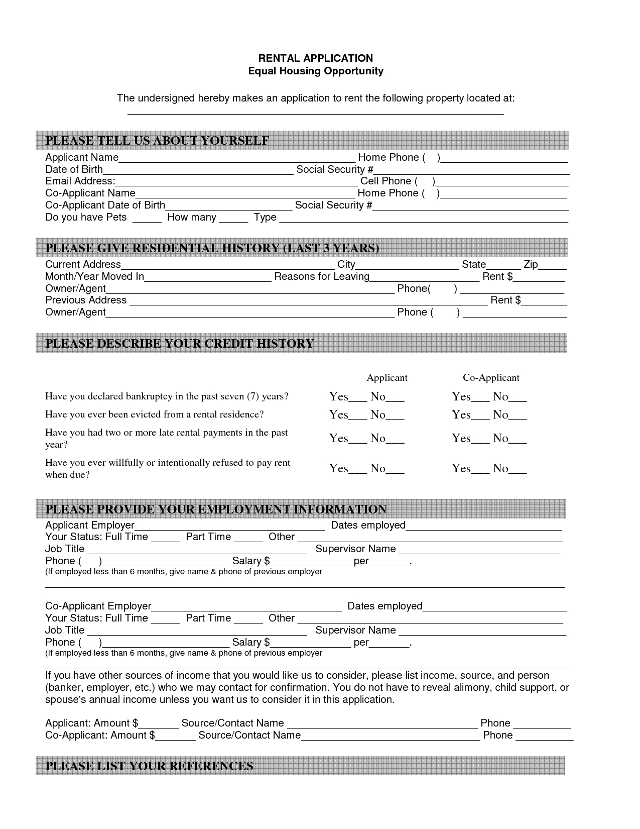 Property Blank Lease Agreement Form Free | Property Rentals Direct - Free Printable House Rental Application Form