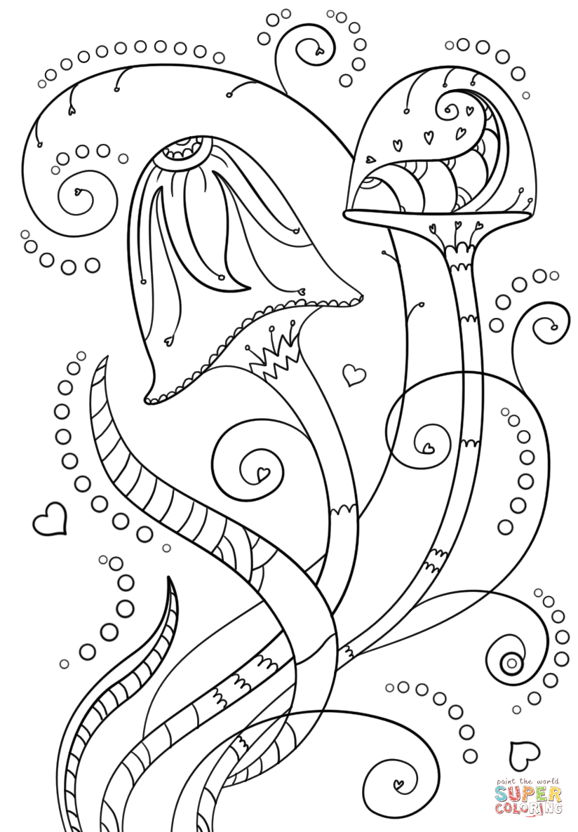 Psychedelic Mushrooms Coloring Page | Free Printable Coloring Pages - Free Printable Mushroom Coloring Pages