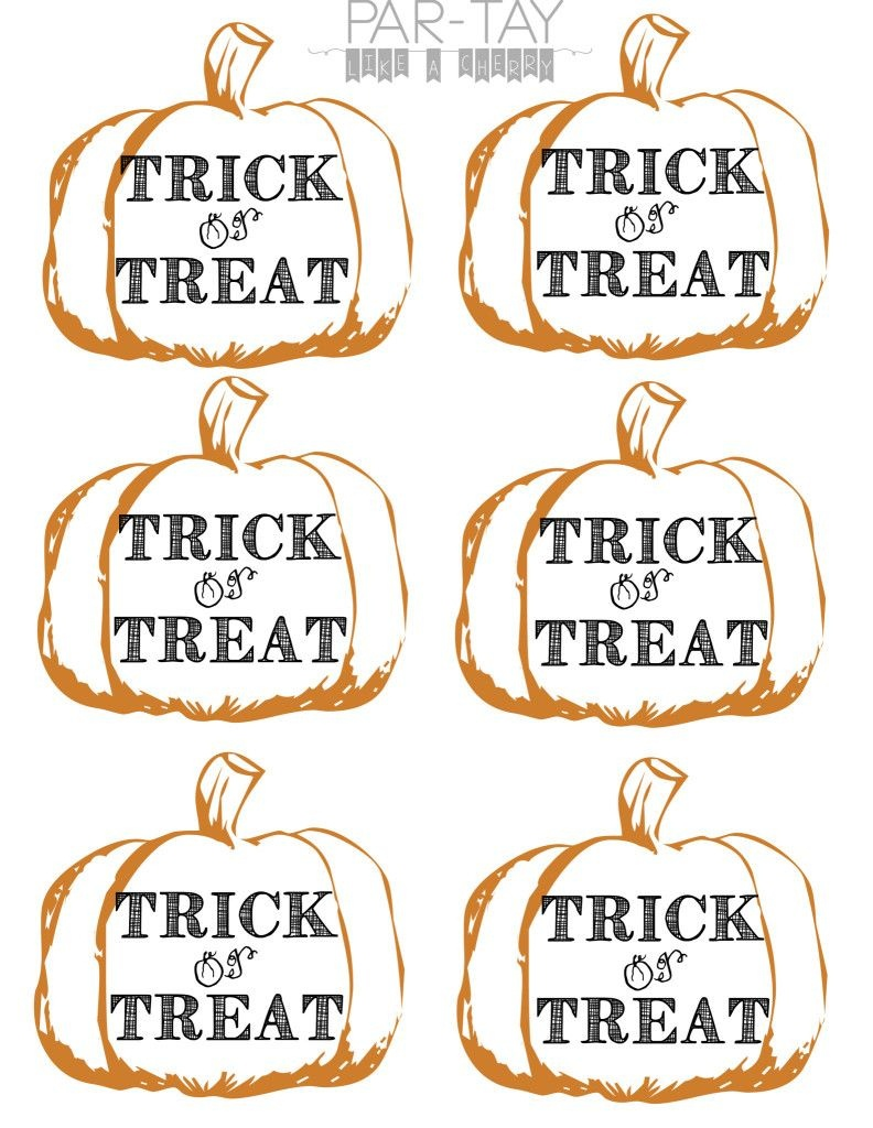Pumpkin Tags Free Printable | Party Like A Cherry | Halloween Treats - Free Printable Trick Or Treat Bags