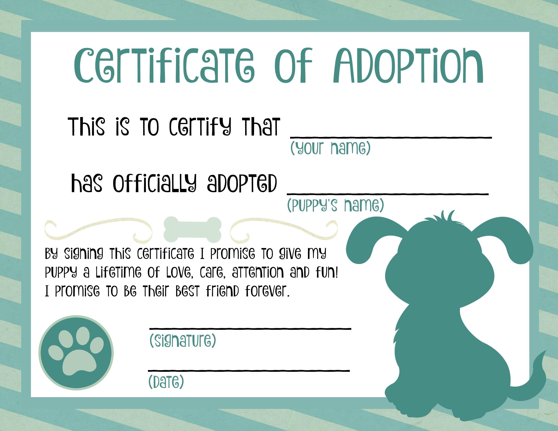 Puppy Adoption Certificate | Dog Birthday In 2019 | Adoption - Fake Adoption Certificate Free Printable