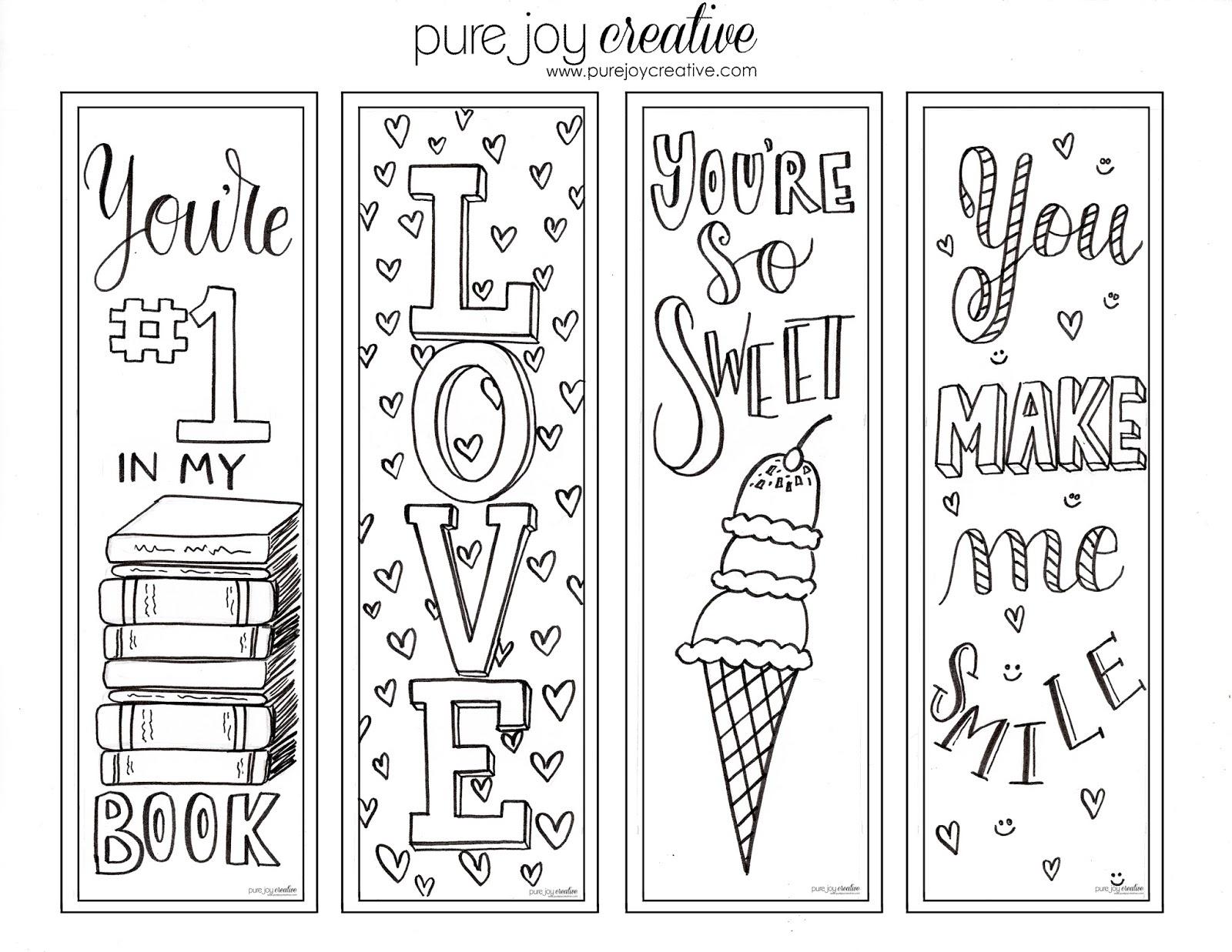 Pure Joy Creative: Free Printable Valentines Day Cards And Bookmarks - Free Printable Valentine Bookmarks