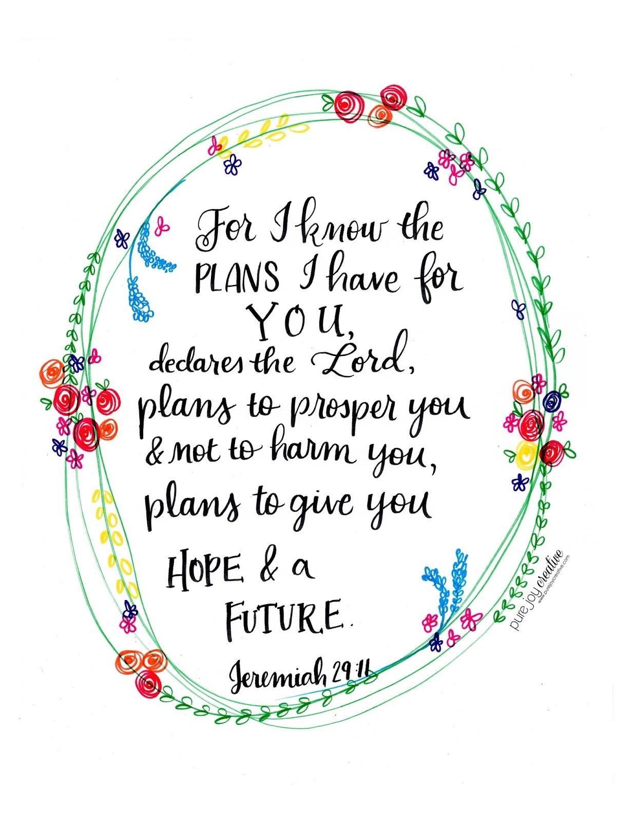 Pure Joy Creative: Jeremiah 29:11 Free Printable - Jeremiah 29 11 Free Printable