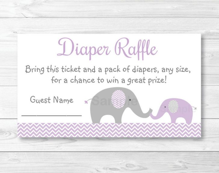 Free Printable Diaper Raffle Tickets Elephant