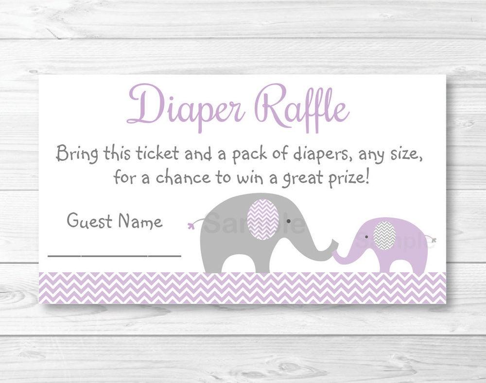 Purple Chevron Elephant Printable Baby Shower Diaper Raffle Tickets - Free Printable Diaper Raffle Tickets Elephant