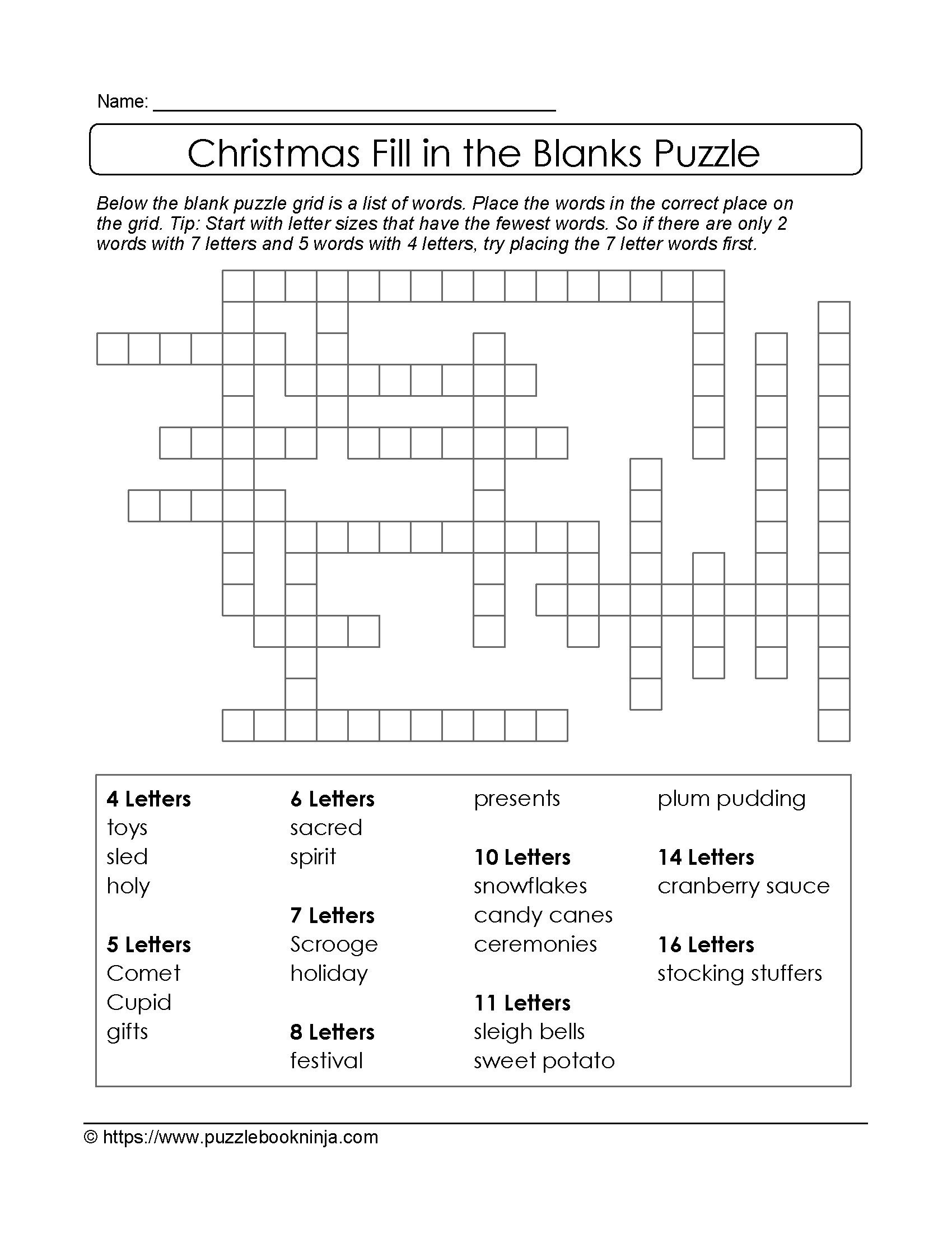 Puzzles To Print. Free Xmas Theme Fill In The Blanks Puzzle - Free Printable Christmas Puzzle Sheets