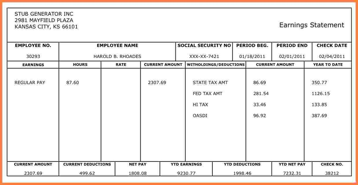 Quickbooks Pay Stub Template - Tutlin.psstech.co - Printable Pay Stub Template Free