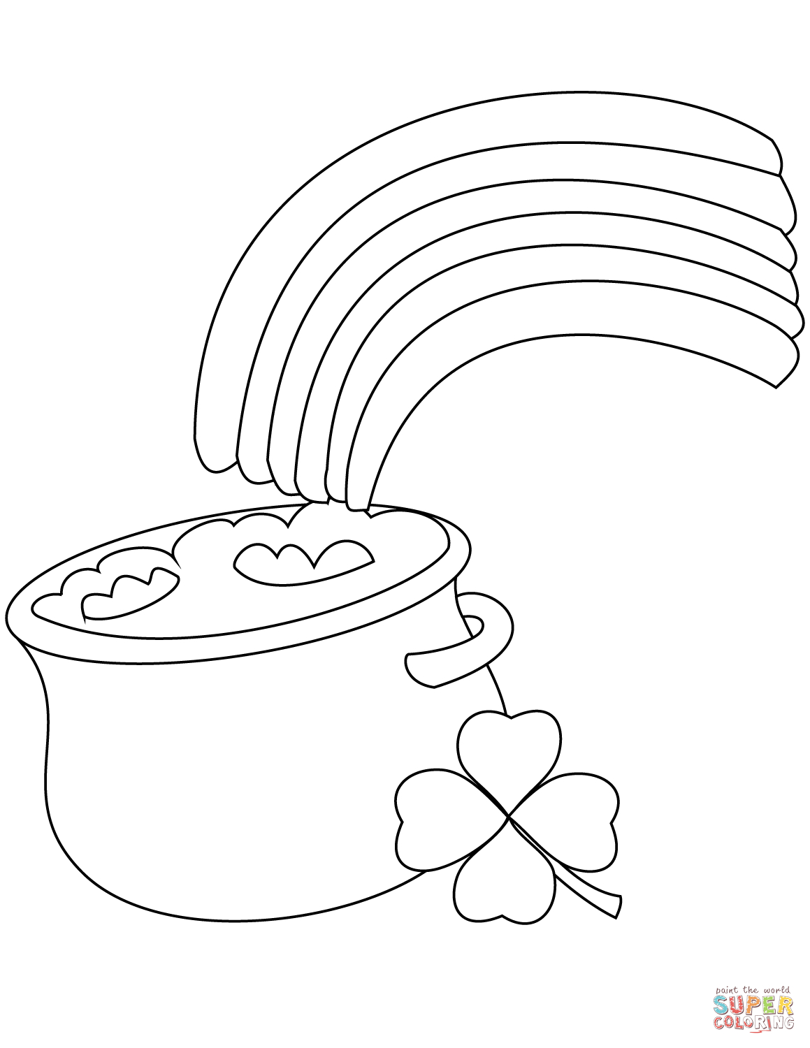 Rainbow And Pot Of Gold Coloring Page   Free Printable Coloring Pages - Free Printable Pot Of Gold Coloring Pages