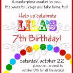 Rainbow Art Birthday Party Or Playdate Invitation   Printable   Arts   Play Date Invitations Free Printable