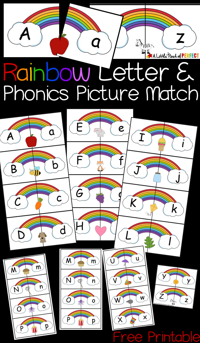 Rainbow Letter And Phonics Picture Match Free Printable | Abcs - Free Printable Rainbow Letters